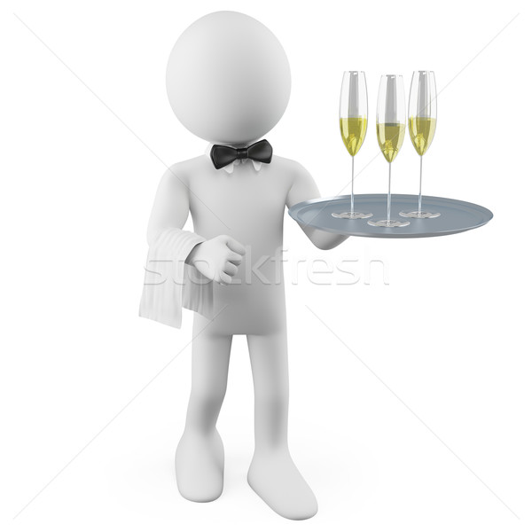 Waiter with a tray with three glasses of champagne Stock photo © texelart