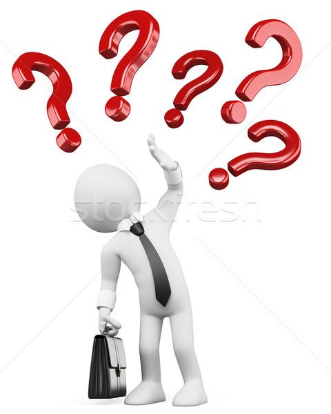 3D pessoas brancas dúvidas branco empresário imagem Foto stock © texelart