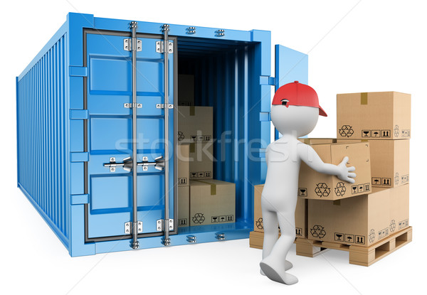 3D white people. Worker unloading a container Stock photo © texelart