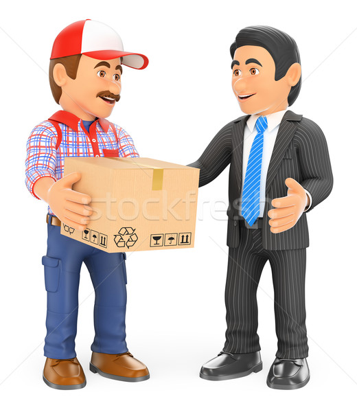 3D Courier delivery man delivering a package to a businessman Stock photo © texelart