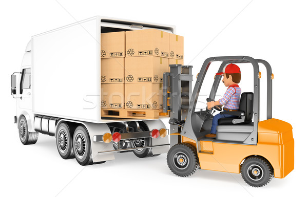 3D Worker driving a forklift loading a truck Stock photo © texelart