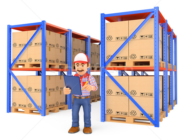 3D Storekeeper checking pallets in the warehouse Stock photo © texelart
