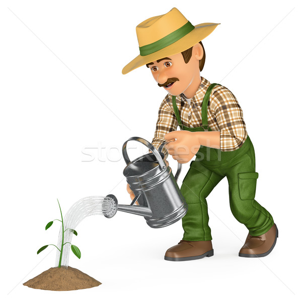 3D Gardener watering a small plant. Growth concept Stock photo © texelart