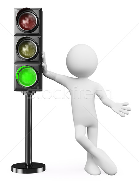 3D white people. Green traffic light  Stock photo © texelart