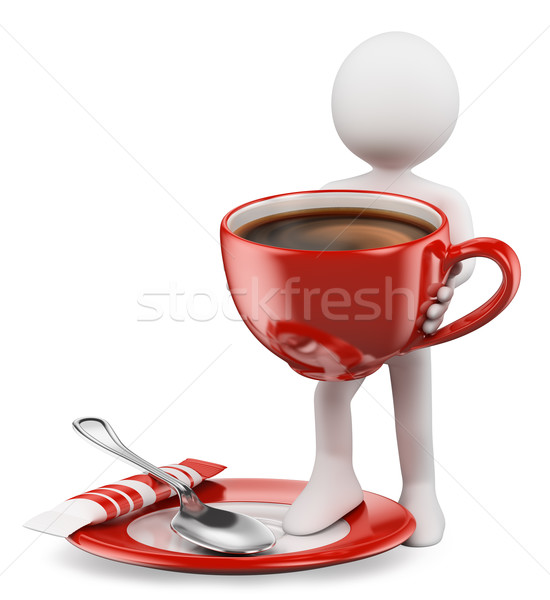 3D white people. Cup of coffe Stock photo © texelart