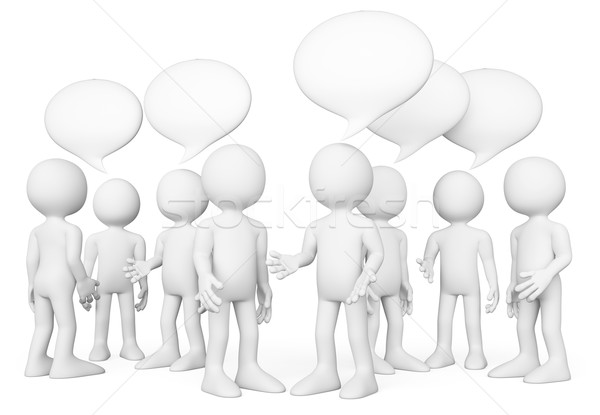 3D white people. Group of people talking. Chat concept Stock photo © texelart
