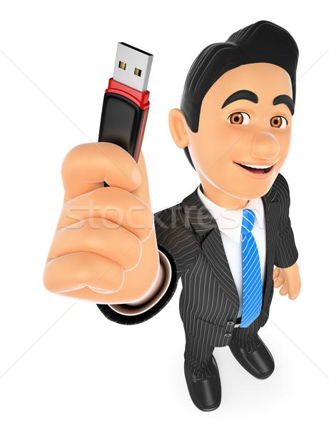 3D Businessman with a pen drive. USB stick Stock photo © texelart