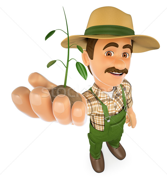 3D Gardener with a plant growing in hand Stock photo © texelart