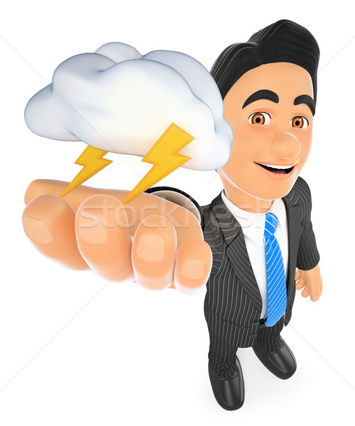 3D Weather man with cloud and lightning. Thunderstorm day Stock photo © texelart