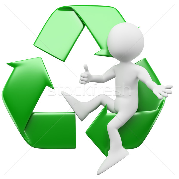 3D man sitting in the recycling symbol Stock photo © texelart