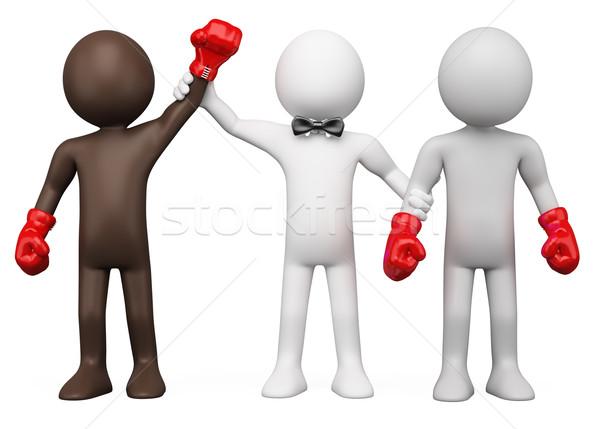 Boxing Referee choosing the winner between two boxers Stock photo © texelart