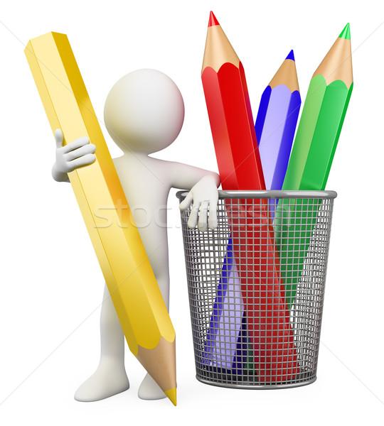 Stockfoto: 3D · kind · kleur · potloden · gerenderd · hoog