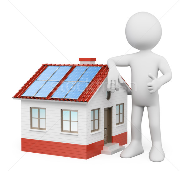 3D white people. House with solar panels Stock photo © texelart