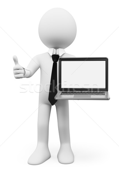 3D white people. Businessman with a laptop with blank screen Stock photo © texelart