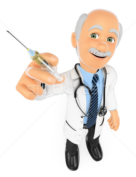 3D Doctor with a syringe. Vaccine concept Stock photo © texelart