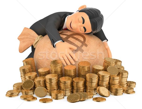 3D Tuxedo rich man hugging his money Stock photo © texelart