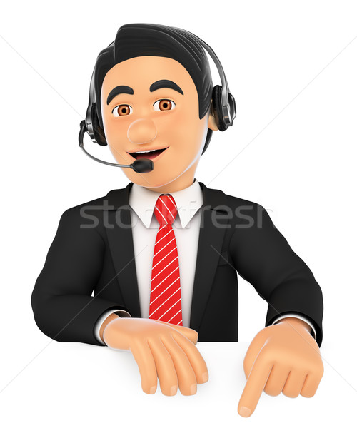 3D Call center employee pointing down. Blank space Stock photo © texelart