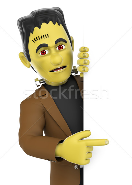 3D Funny monster. Frankenstein pointing aside. Blank space. Hall Stock photo © texelart