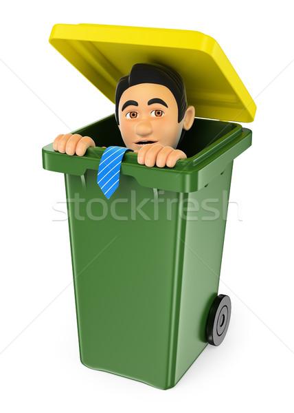 3D бизнесмен сокрытие мусор деловые люди Сток-фото © texelart