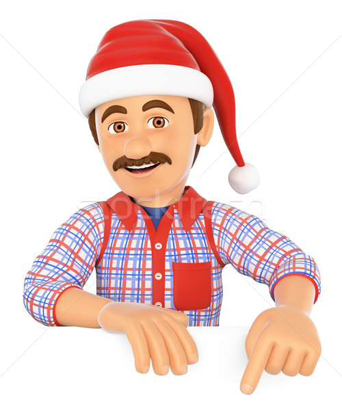 3D Handyman pointing down with a Santa Claus hat. Blank space Stock photo © texelart