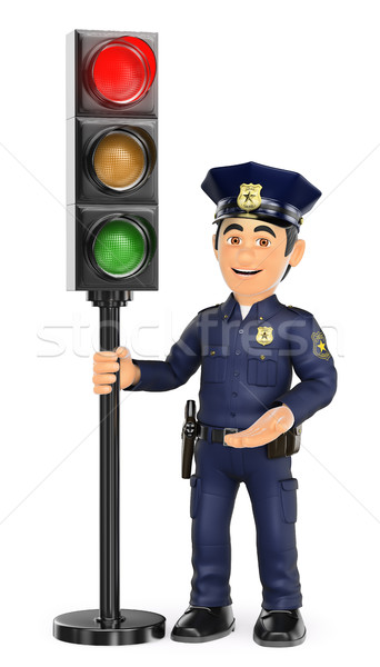 3D Police with a traffic light in red Stock photo © texelart