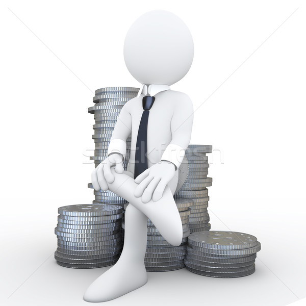 3D human sitting on a pile of coins Stock photo © texelart