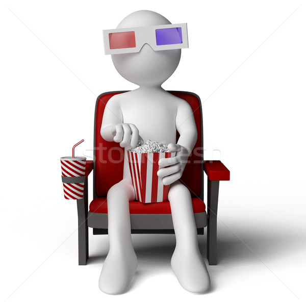 3D human sitting on a armchair in the cinema, eating popcorn with 3D glasses Stock photo © texelart