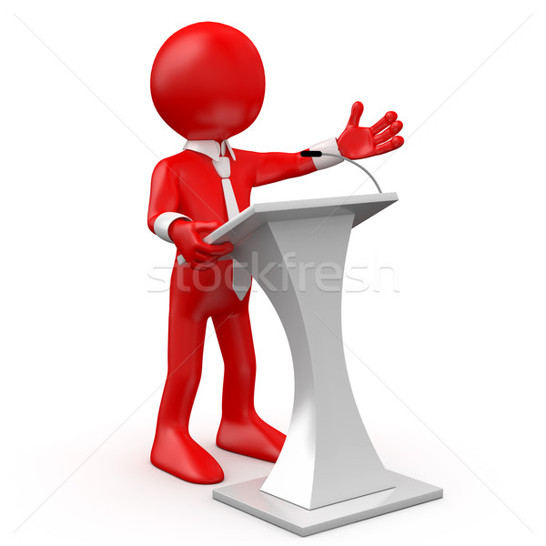 Red man speaking at a conference Stock photo © texelart