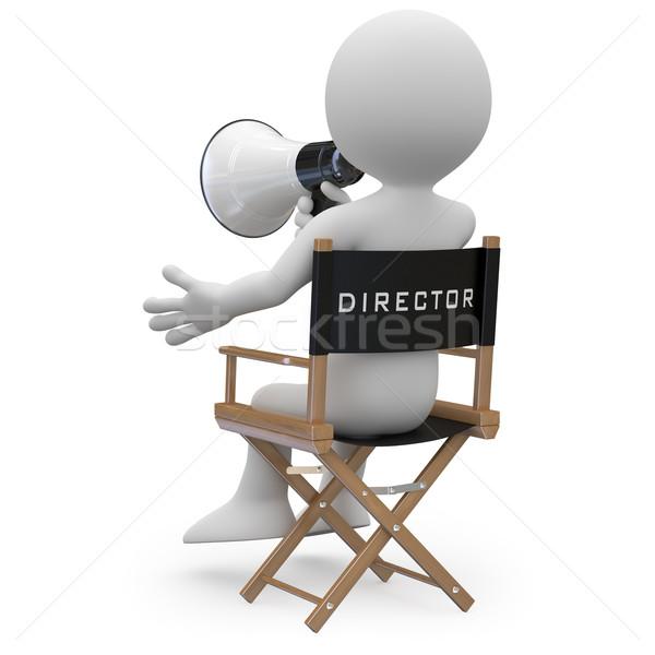 Foto stock: Filme · diretor · sessão · cadeira · megafone · ver · de · volta