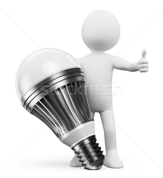 3D white people. Led lamp Stock photo © texelart