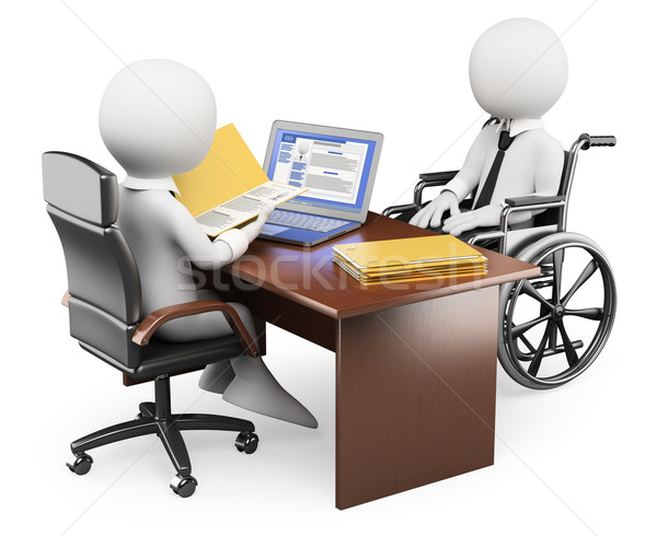 3D white people. Handicapped person in job interview Stock photo © texelart
