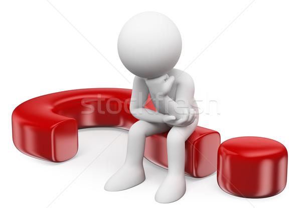3D white people. Doubting man sitting in a question mark Stock photo © texelart