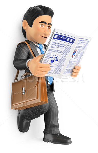 3D Businessman reading the latest news in the newspaper Stock photo © texelart