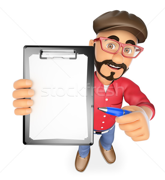 3D Film director with blank clipboard and a pen Stock photo © texelart