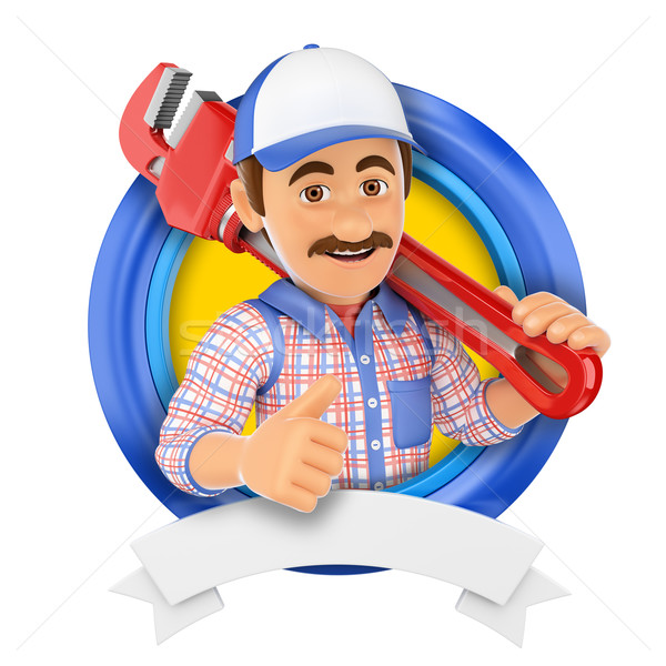 3D Logo. Plumber with pipe wrench Stock photo © texelart