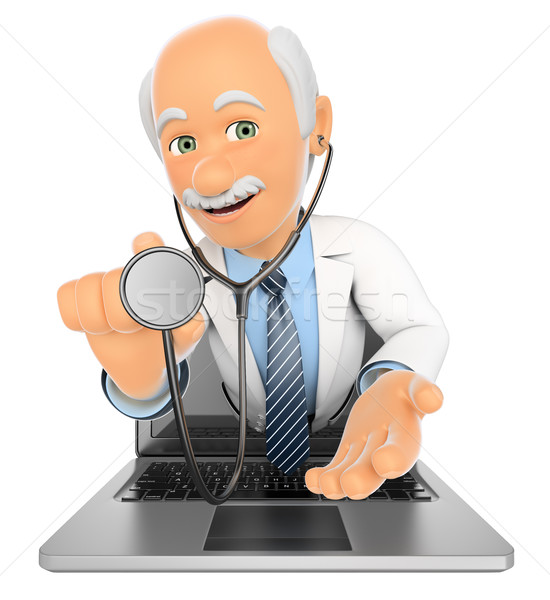 3D Doctor coming out a laptop screen with a stethoscope Stock photo © texelart