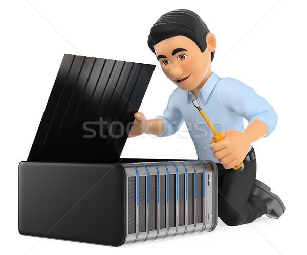3D technologia informacyjna technik serwera pracy Zdjęcia stock © texelart