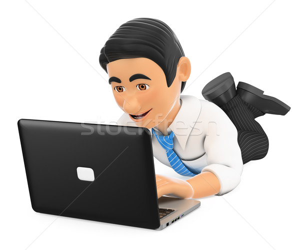 3D Businessman lying down with a laptop Stock photo © texelart