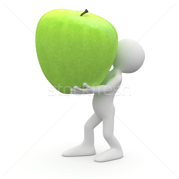 Man carrying a huge green apple Stock photo © texelart