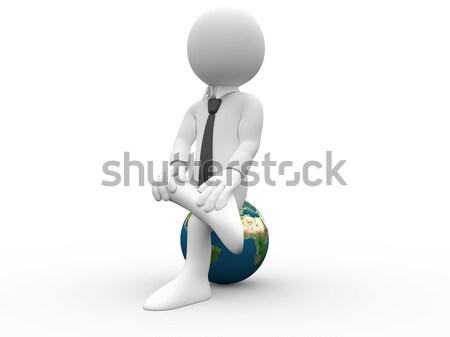 3d ember ül lábak keresztbe Föld póló nyakkendő Stock fotó © texelart