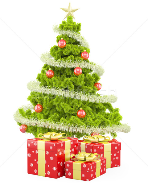 Christmas tree with several Christmas gifts Stock photo © texelart