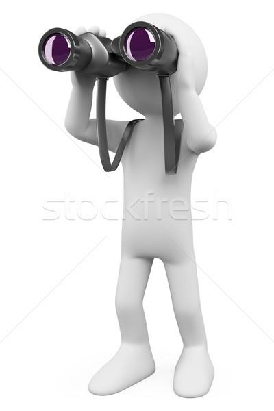 3D beyaz insanlar dürbün beyaz kişi bakıyor Stok fotoğraf © texelart