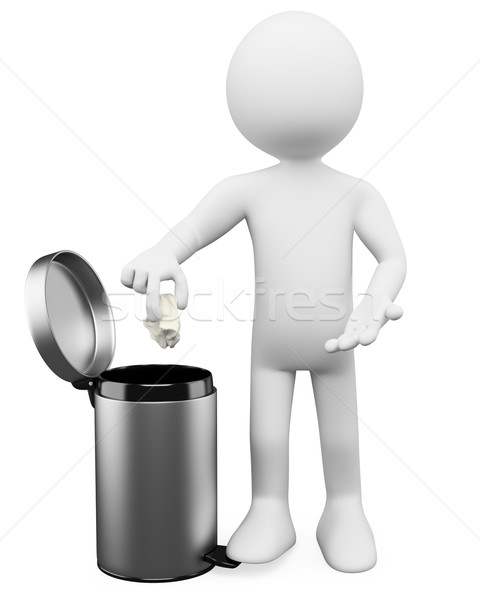 Stock photo: 3D white people. Garbage basket