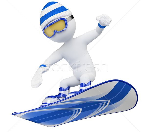 3D white people. Snowboard Stock photo © texelart