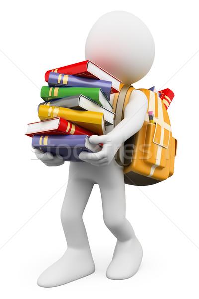 3D fehér emberek diák hordoz boglya könyvek Stock fotó © texelart