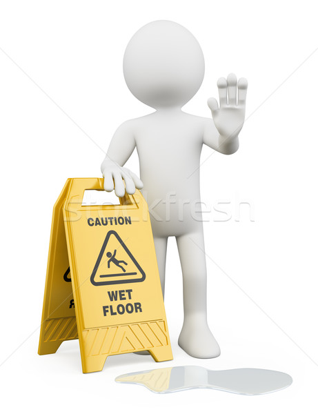 3D white people. Caution wet floor Stock photo © texelart