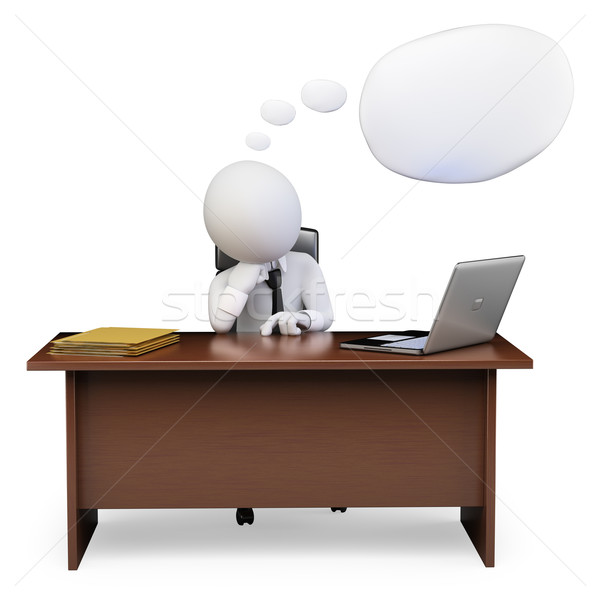 Stock fotó: 3D · fehér · emberek · üzletember · gondolkodik · iroda · szövegbuborék