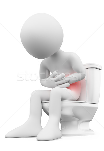 3D white people. Man with stomachache in the bathroom Stock photo © texelart