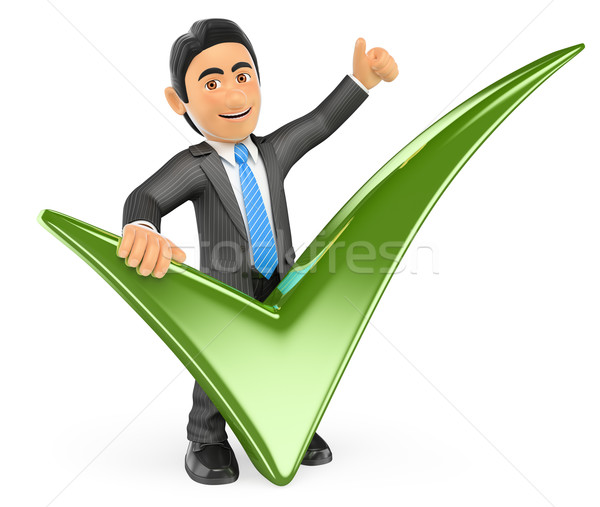 3D Businessman with a green tick and thumb up Stock photo © texelart