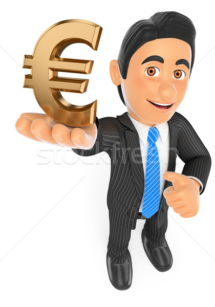3D Businessman with a gold euro symbol Stock photo © texelart